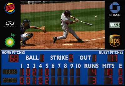 3225ETN8 Baseball Scoreboard with Video Display